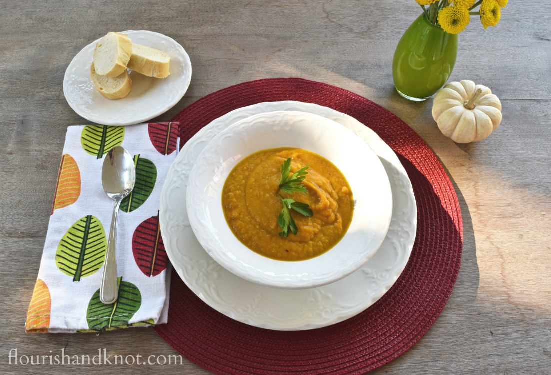 Carrot and roasted sweet potato soup recipe | harvest soup recipe | flourishandknot.com