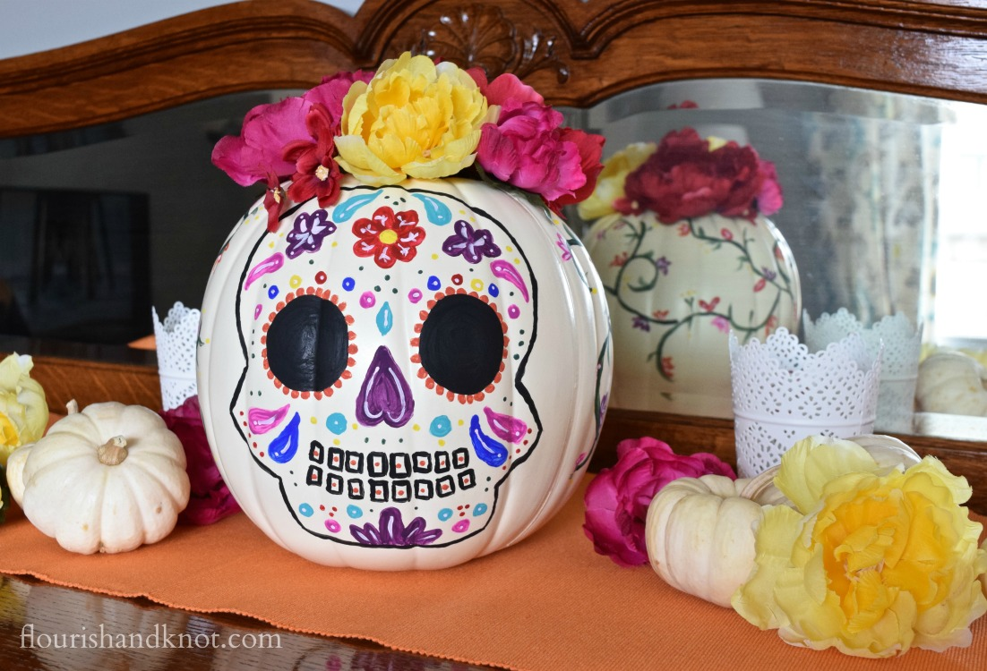A colourful DIY painted pumpkin for Día de Muertos and Halloween | flourishandknot.com