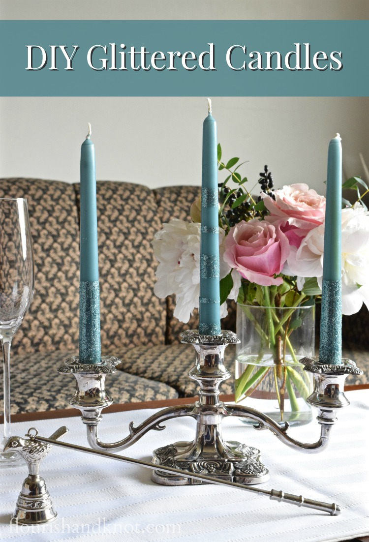 DIY Glittered Candles | A simple way to add style to plain taper candles | flourishandknot.com