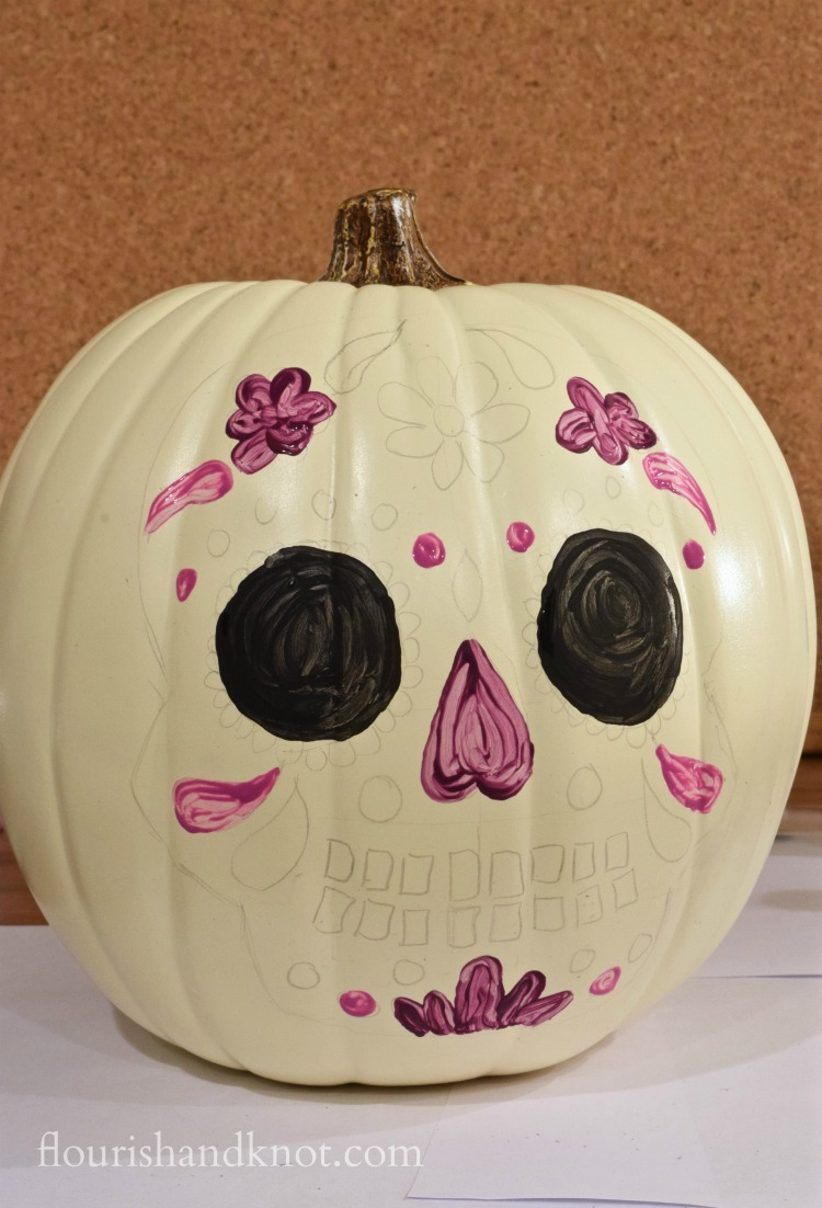 How to paint a colourful DIY pumpkin for Día de Muertos and Halloween | flourishandknot.com