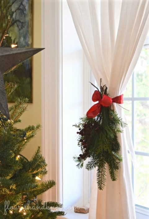 Simple window greenery swag | 7 (Unbelievably) Simple Holiday Decor Ideas | Easy Christmas Decor | Vankleek Hill Christmas Home Tour | flourishandknot.com