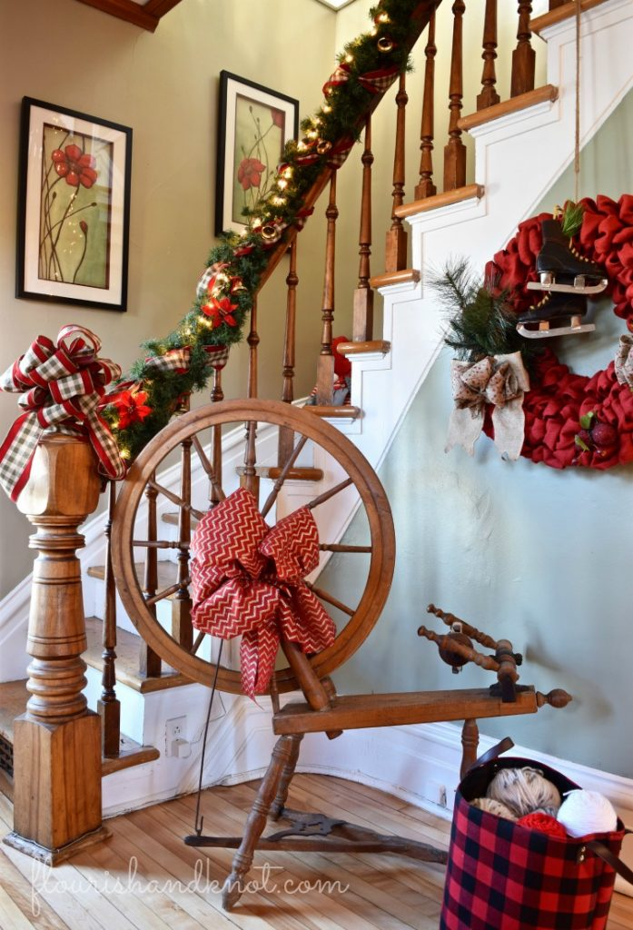 Brightly decorated country foyer | Rustic Farmhouse Christmas Decor | 3 Inspiring Ways to Decorate for Christmas