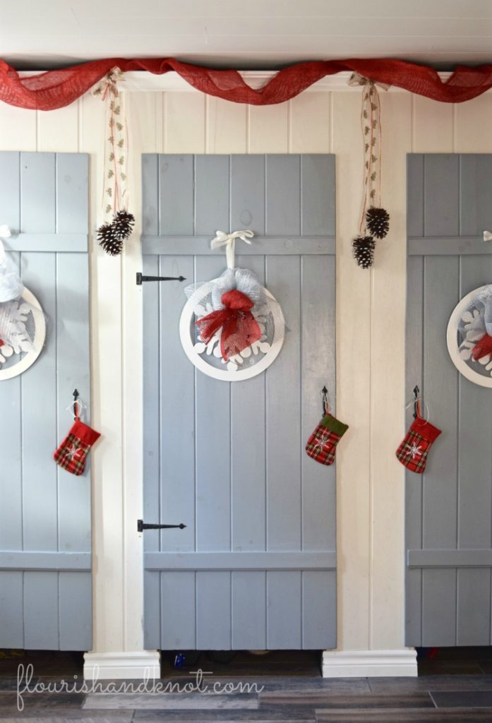 Grey, white, and red mudroom | Rustic Farmhouse Christmas Decor | 3 Inspiring Ways to Decorate for Christmas