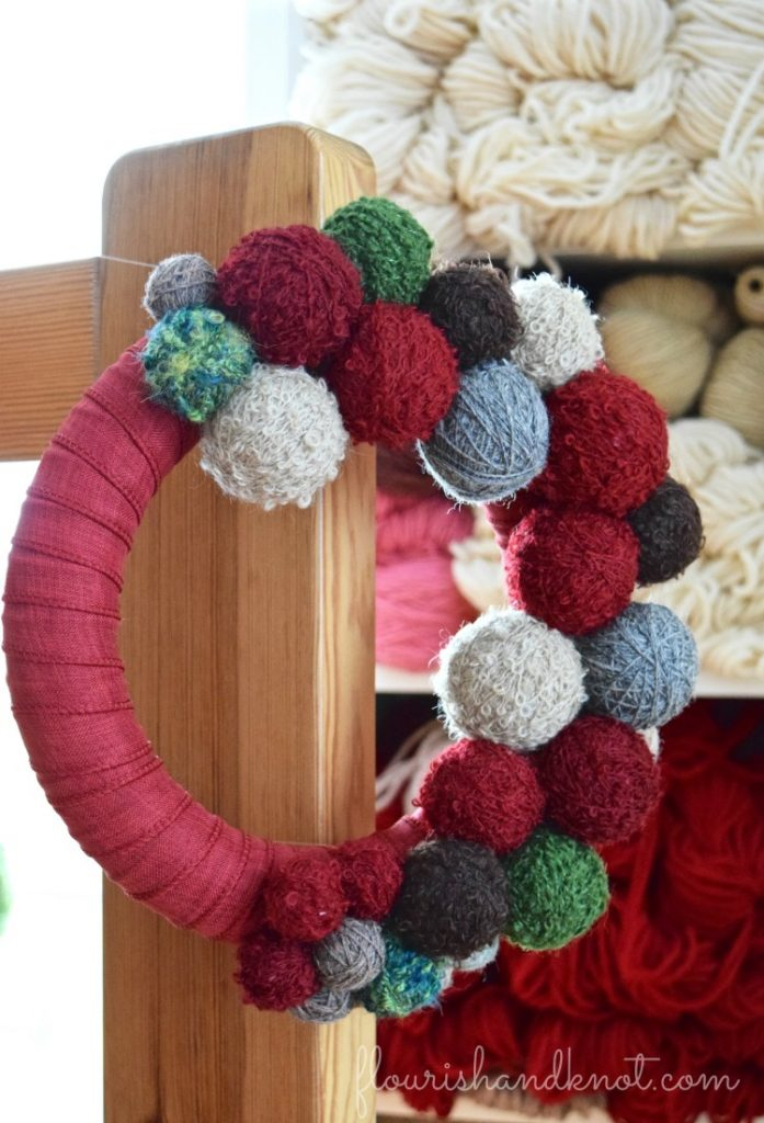 yarn ball wreath | Rustic Farmhouse Christmas Decor | 3 Inspiring Ways to Decorate for Christmas