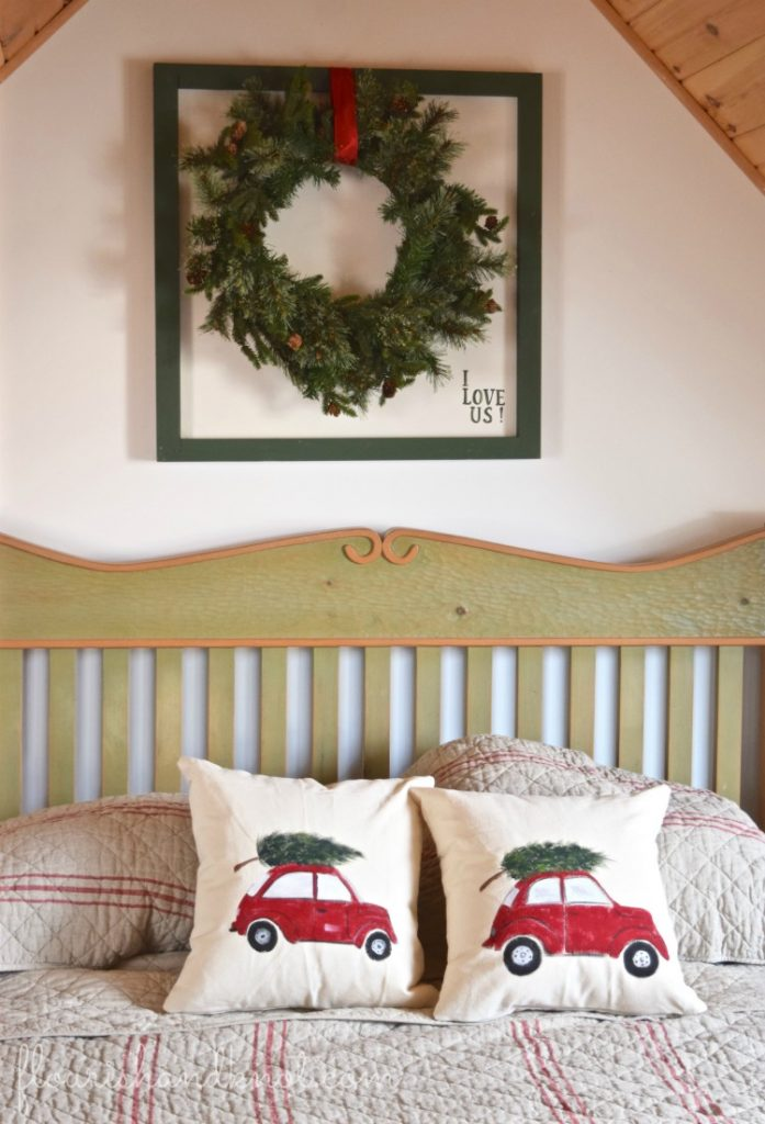 Rustic printed pillows | Rustic Farmhouse Christmas Decor | 3 Inspiring Ways to Decorate for Christmas