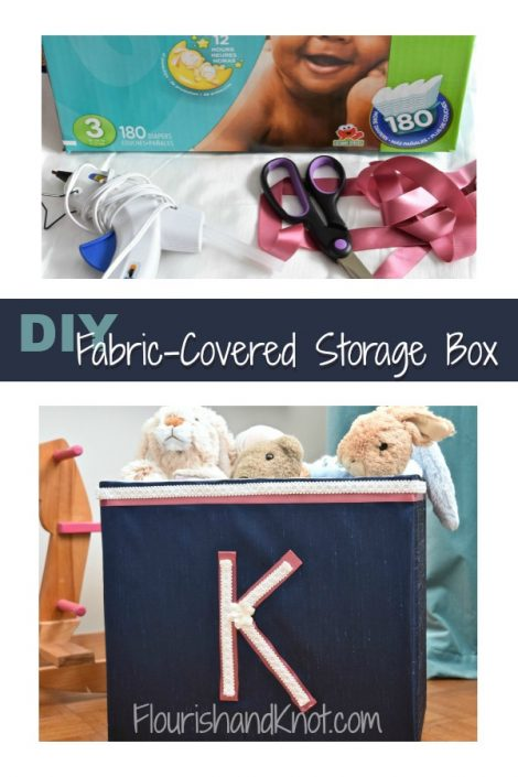 DIY Fabric-Covered Storage Box | How to cover a cardboard box with fabric | Destash Challenge