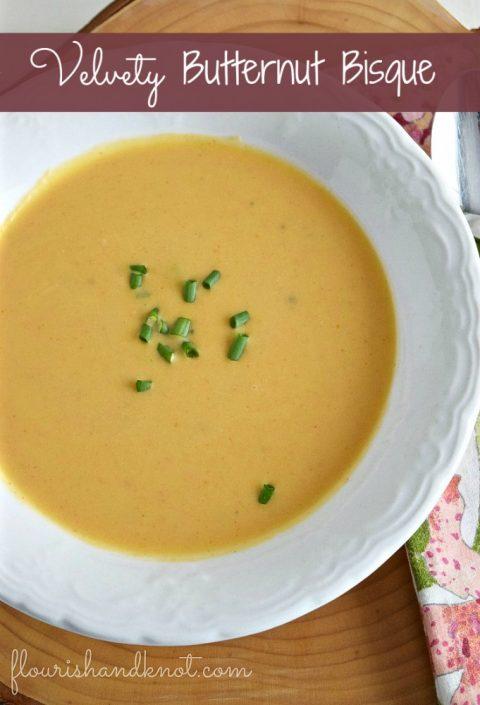 Velvety Butternut Squash Bisque Soup | Easy Soup Recipe | flourishandknot.com