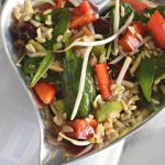 Salade d'amour (love salad)   salad recipe with rice, baby spinach, red peppers, sesame vinaigrette