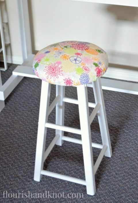 DIY Upholstered Barstool | $100 Craft & Sewing Room Makeover | DIY Home Decor | Budget Decorating | $100 Room Challenge