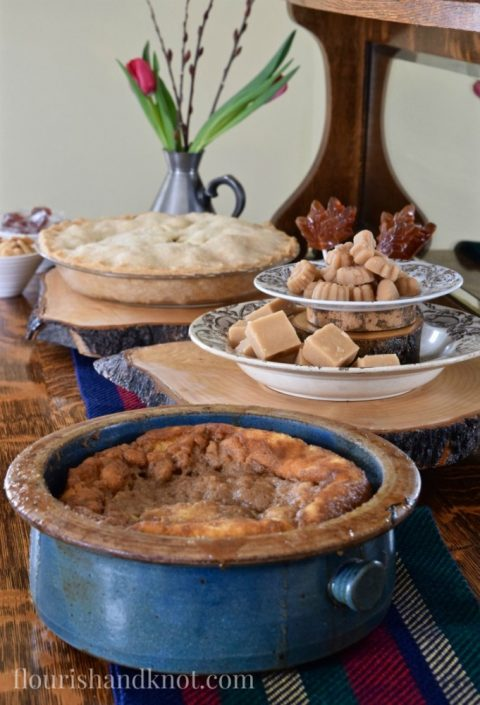 Poudding chomeur, maple sugar candies, apple pie | Tourtiere (meat pie) | Sugar Shack Lunch | Cabane a sucre menu | A Year of Feasting - Spring | Traditional Canadian Quebec meal