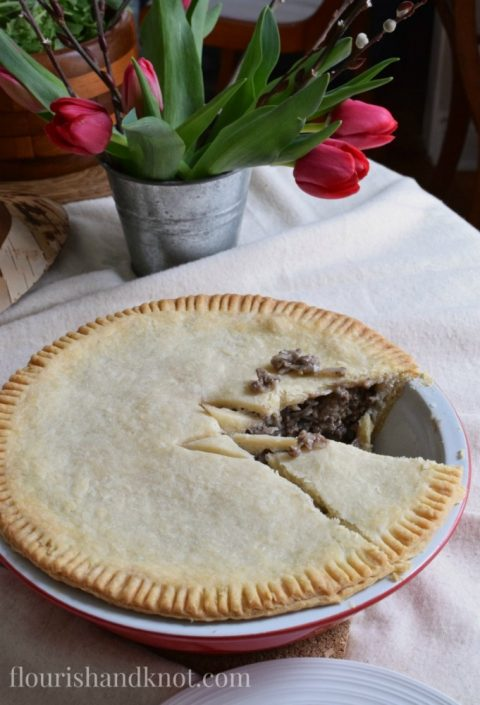 Tourtiere (meat pie) | Sugar Shack Lunch | Cabane a sucre menu | A Year of Feasting - Spring | Traditional Canadian Quebec meal