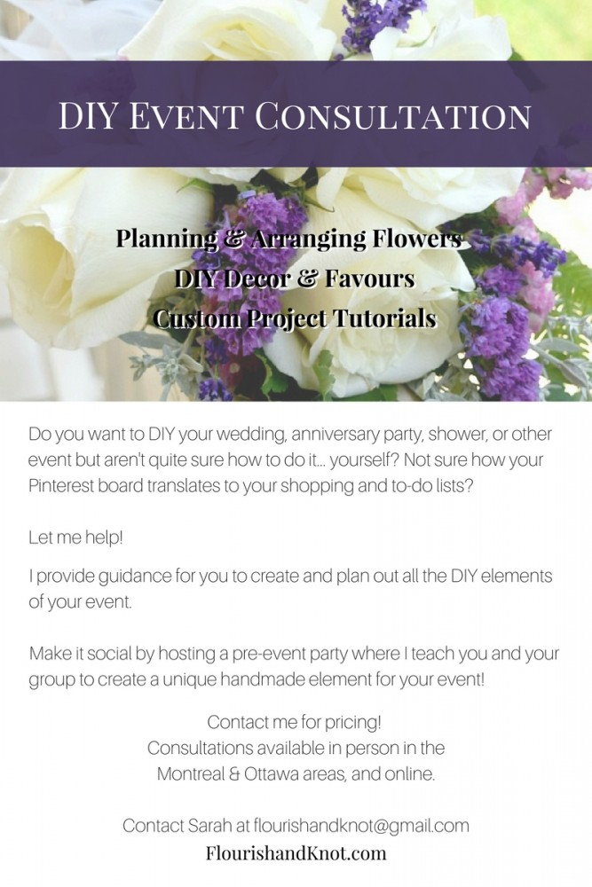 DIY Event Consultation by Flourish & Knot | Sarah Burnell | DIY wedding consultation| DIY Flowers - Event Decor - Favours | DIY Weddings & Events