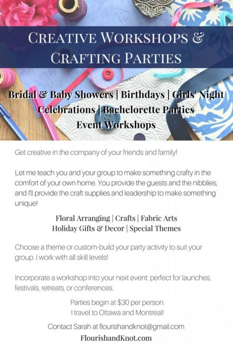Craft Workshops and Craft Parties by Flourish & Knot | Montreal and Ottawa Craft Parties | Alternative Girls' Night - Bridal and Baby Showers - Birthdays - Parties