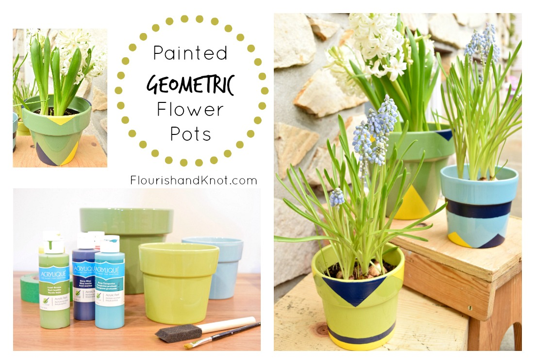 Painted Geometric DIY Flower Pots | There for the Making: Earth Day!