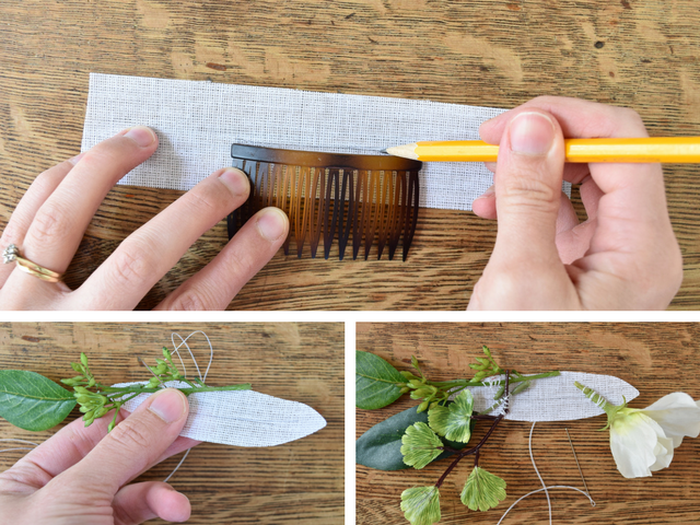 Diy silk floral hair comb diy hair accessories 4 add a few more filler flowers sewing them on securely if your flowers dont have a stem or you want the blooms facing up you can cut the stems off mightylinksfo