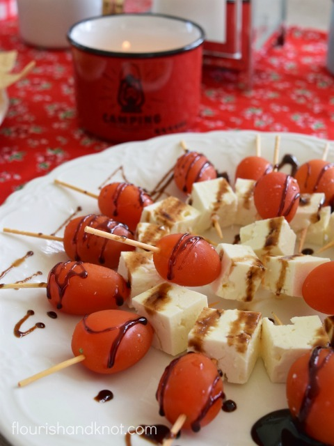Canada Day Appetizer - Cherry Tomatoes, Feta Cheese, Balsamic Reducation