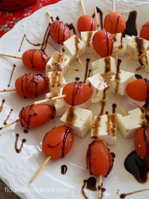 Canada Day Appetizer - Cherry Tomatoes, Feta, and Balsamic Reduction