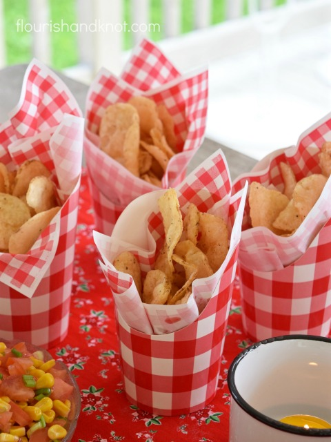 Canada Day - Chips in Red and White Cups