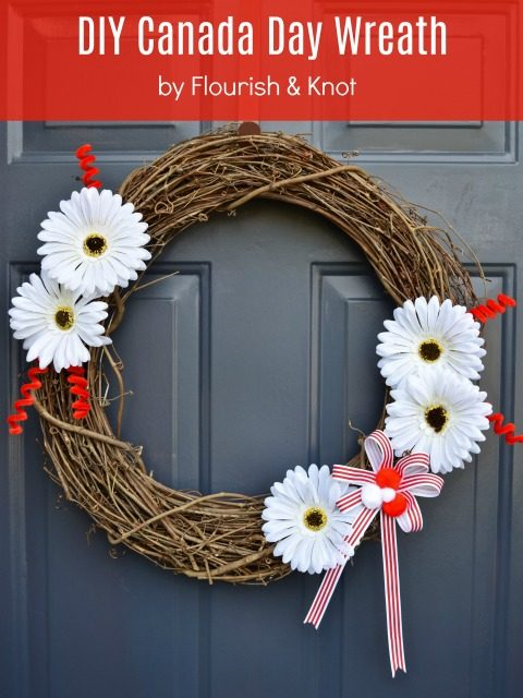 DIY Canada Day Wreath in Red and White | There for the Making | The Zero-Dollar DIY Challenge