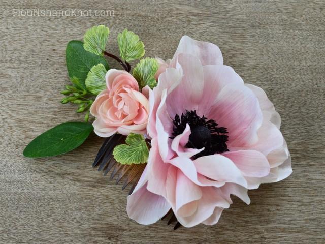DIY Silk Anemone and Ranunculus Hair Comb | DIY Silk Floral Hair Comb | DIY Hair Accessories | DIY Wedding Comb
