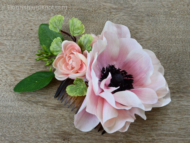 DIY Silk Anemone and Ranunculus Hair Comb | DIY Silk Floral Hair Comb | DIY Hair Accessories | DIY Wedding Comb