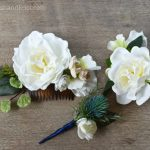 DIY Silk Floral Accessory Ensemble | Silk Thistle Boutonniere | Silk Gardenia Corsage and Hair Comb | DIY Silk Floral Hair Comb | DIY Hair Accessories | DIY Wedding Comb