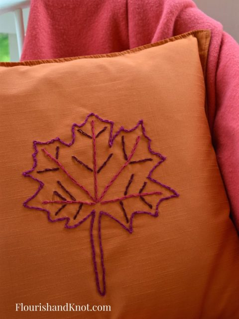 Easy (Single-Stitch) Embroidered Maple Leaf Pillow - Ikea Hack!