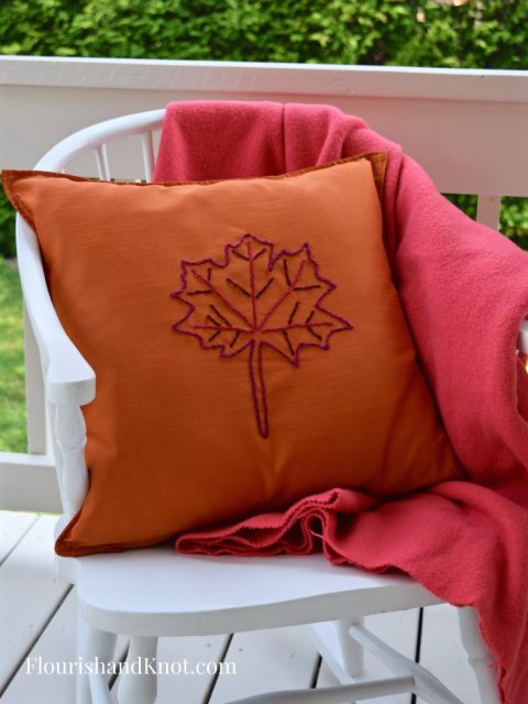 Embroidered Ikea Pillow | Embroidered Maple Leaf Pillow | There for the Making Challenge