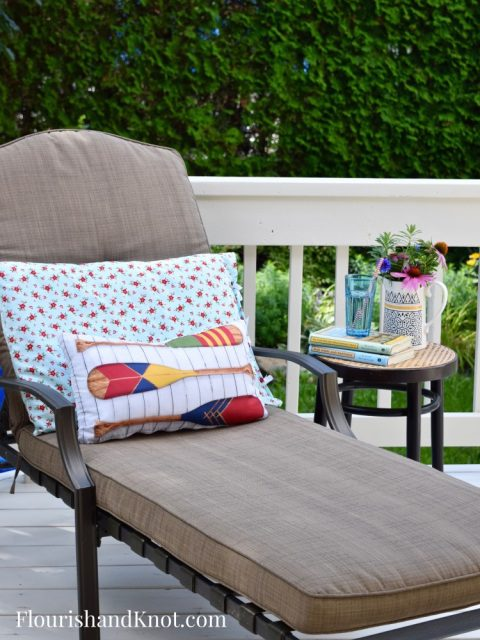 Lounge Chair | Cottage-Inspired Mini Deck Makeover | Milkshakes n Sunshine Fabric | Flourish & Knot
