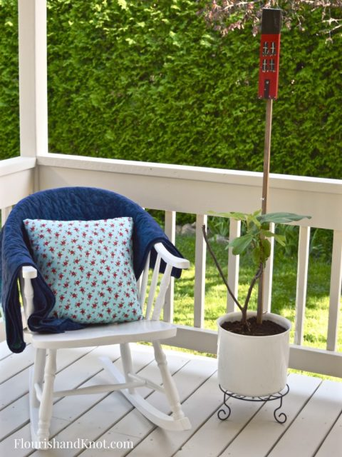 Rocking Chair | Cottage-Inspired Mini Deck Makeover | Milkshakes n Sunshine Fabric | Flourish & Knot