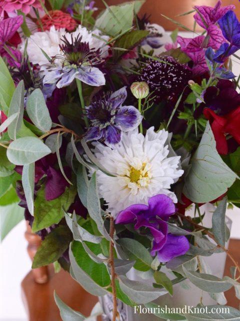 Ruffled White Cosmos | Wild & Moody Hand-Tied Bouquet - Wild Bouquet - Les Jardins de Frieda Bella - Flourish & Knot