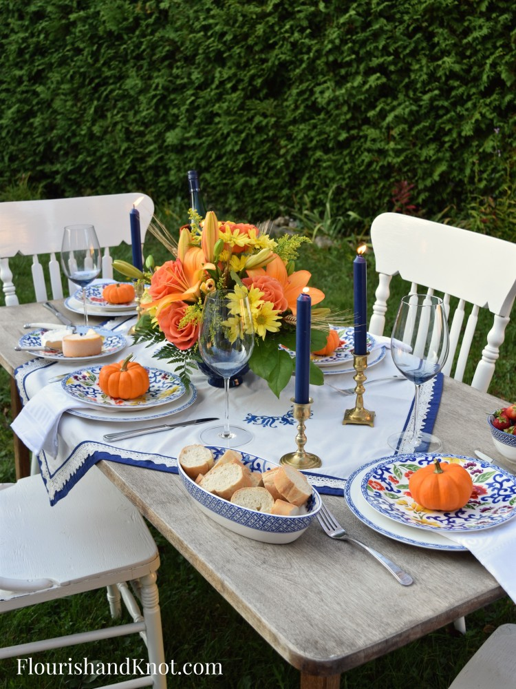 Thanksgiving Tablescape Full | Blue and Orange Autumn Table