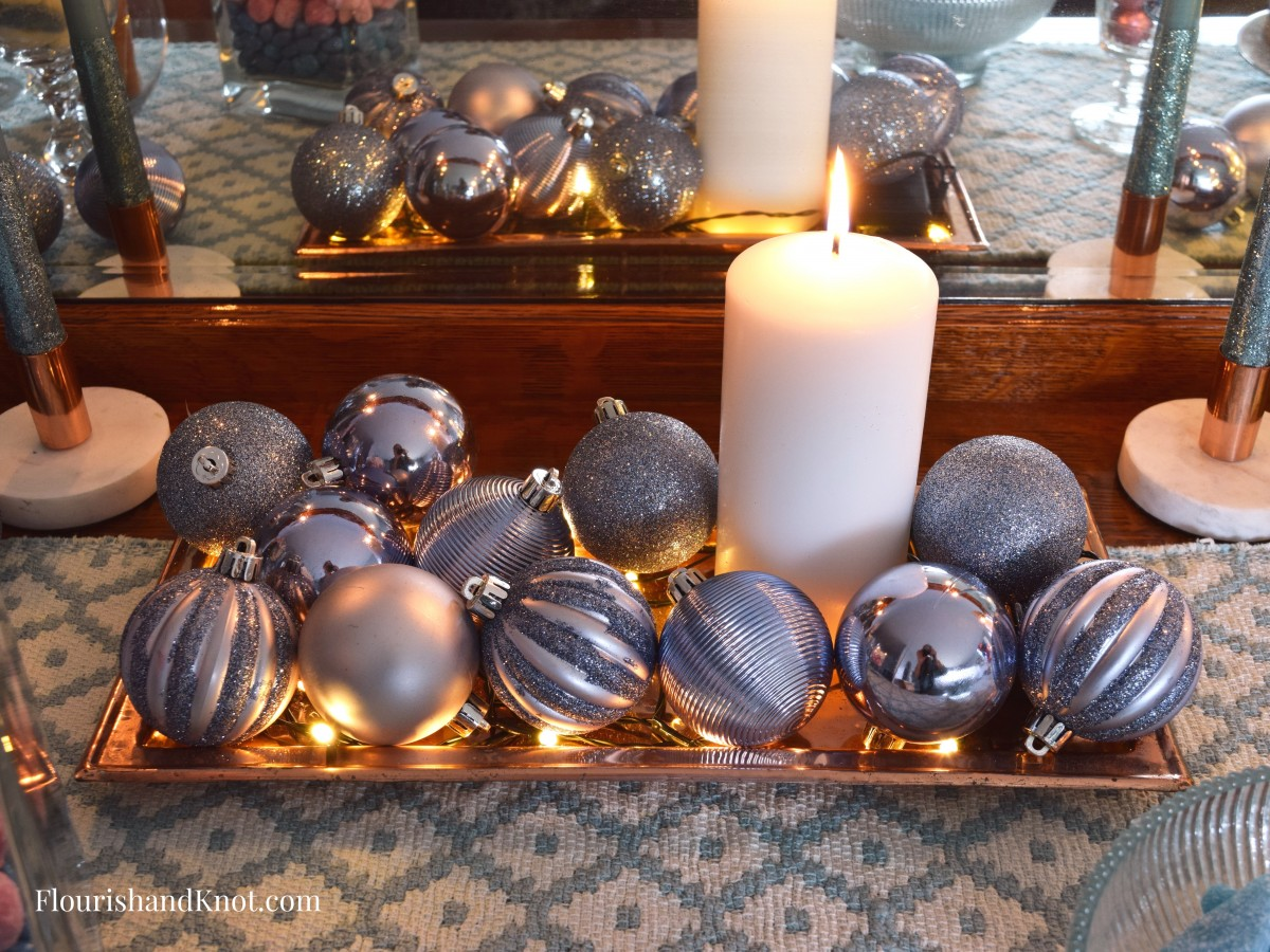 Copper Tray Centrepiece with Pillar Candles, Mini lights, and Christmas Baubles | Sweet & Sparkly New Year's Eve Candy Buffet | Year of Feasting