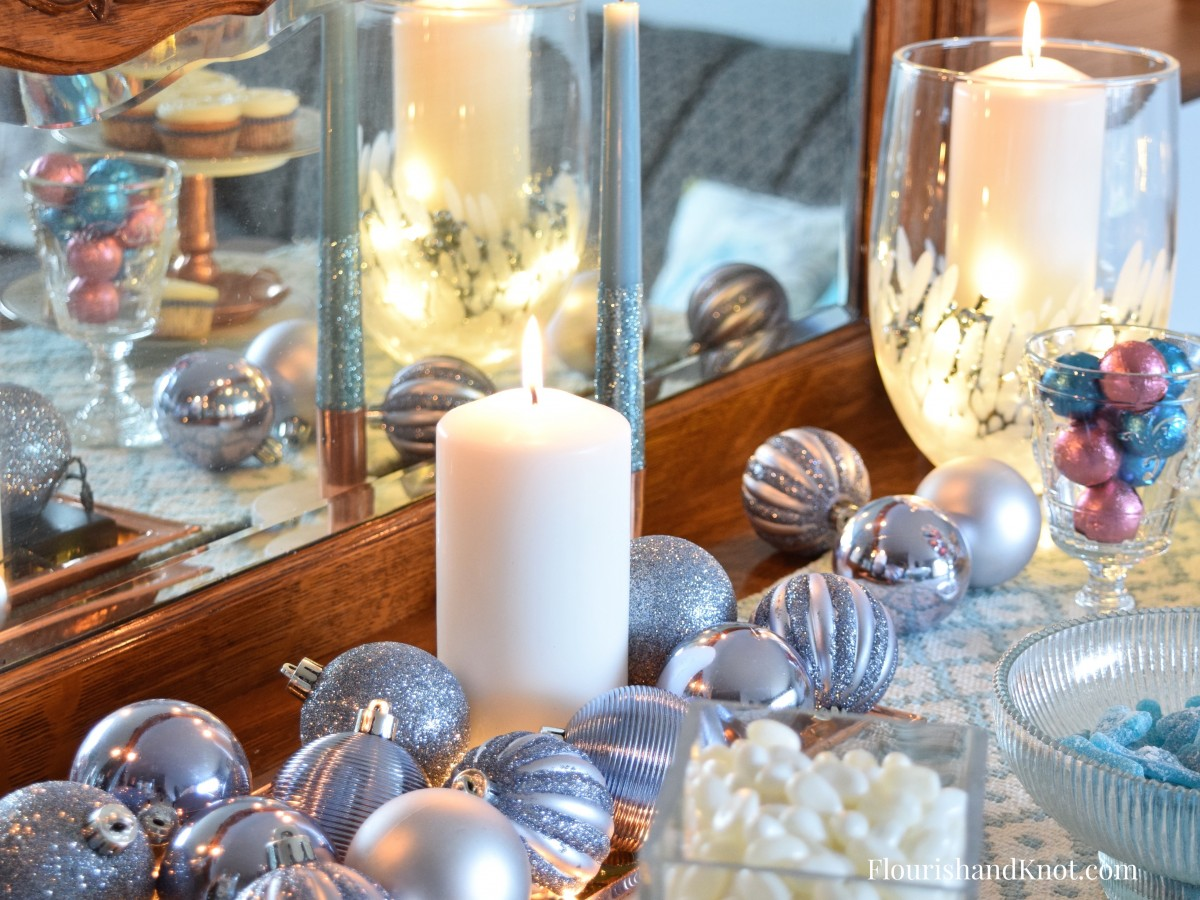 Centrepiece with Silver Christmas Baubles | Sweet & Sparkly New Year's Eve Candy Buffet | Year of Feasting