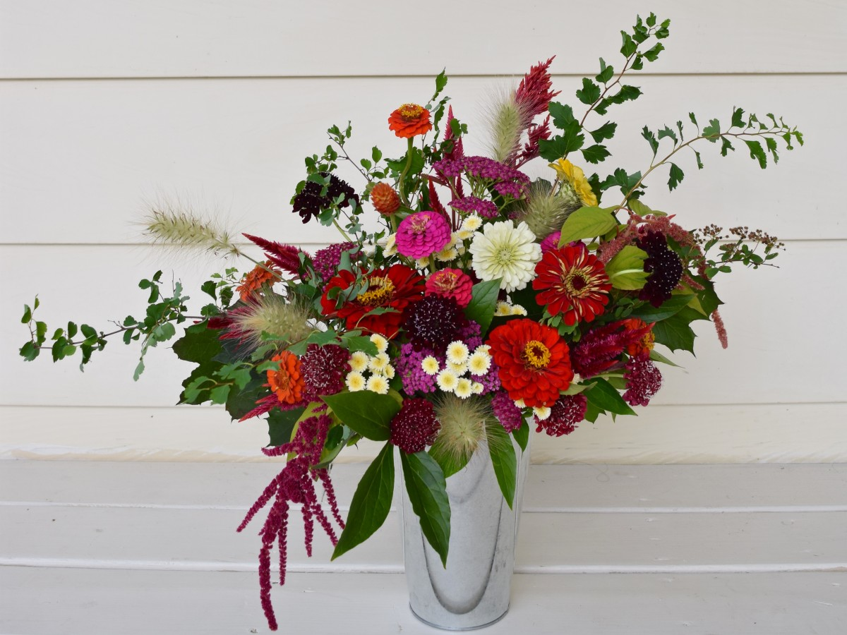 Fall Arrangement in Burgundy, Orange, and Red