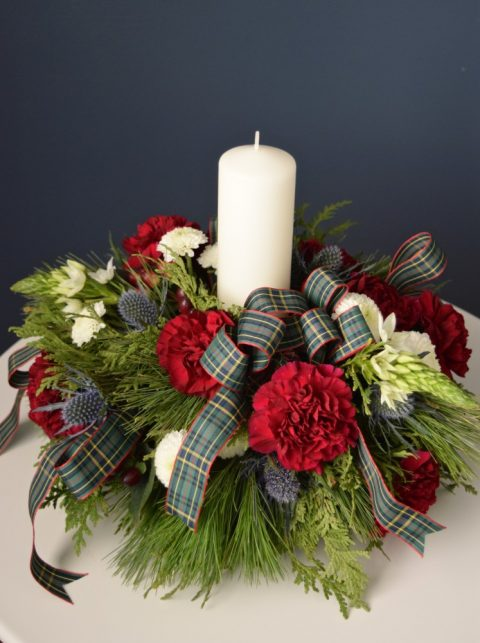 Christmas Centrepiece with Custom MacLeod Tartan Bow