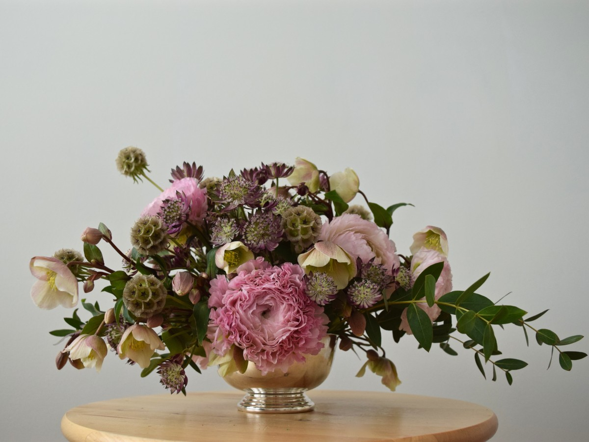 "Spring arrangement with hellebores, ""Hermione"" ranunculus, astrantia, and scabiosa stellat"