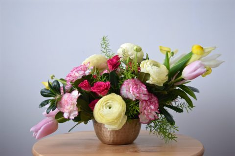 Yellow & Pink Spring Arrangement | Yellow Clooney Ranunculus, Yellow Iris, Pink Tulips & Carnations, Hot Pink Spray Roses