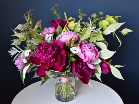 Burgundy and Pink Peony Bouquet | Peony Bridal Bouquet | Flourish & Knot