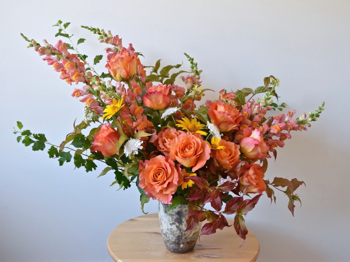 Orange, Peach, and Pink Summer Asymmetrical Arrangement | Flourish & Knot
