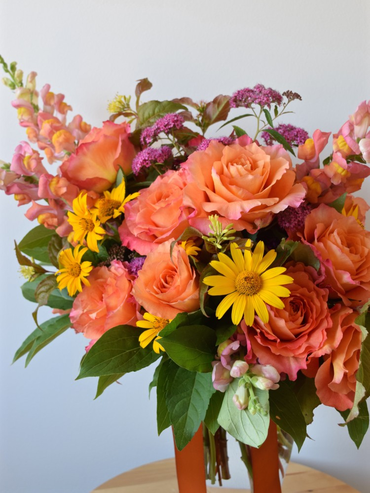 Orange, Peach, Pink, Yellow Bridal Summer Bouquet | Flourish & Knot