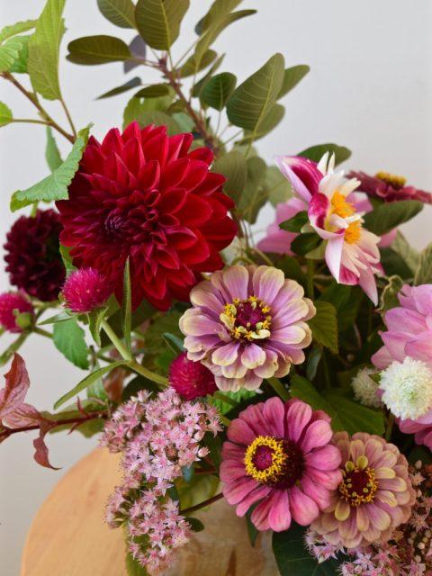 Dahlias and zinnias | Fall centerpiece | Canadian Flowers Week | Flourish & Knot Workshop