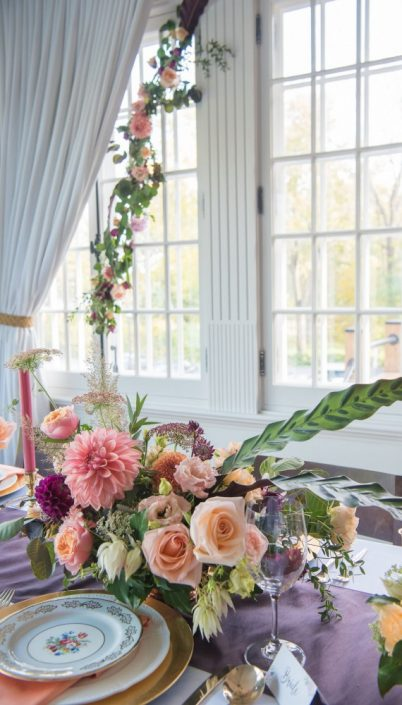 Fall Wedding Montreal | Fall Wedding Inspiration | Auberge Willow Inn Wedding | Flourish & Knot | Dahlia Centerpiece | Floral Installation | Purple and Coral Wedding