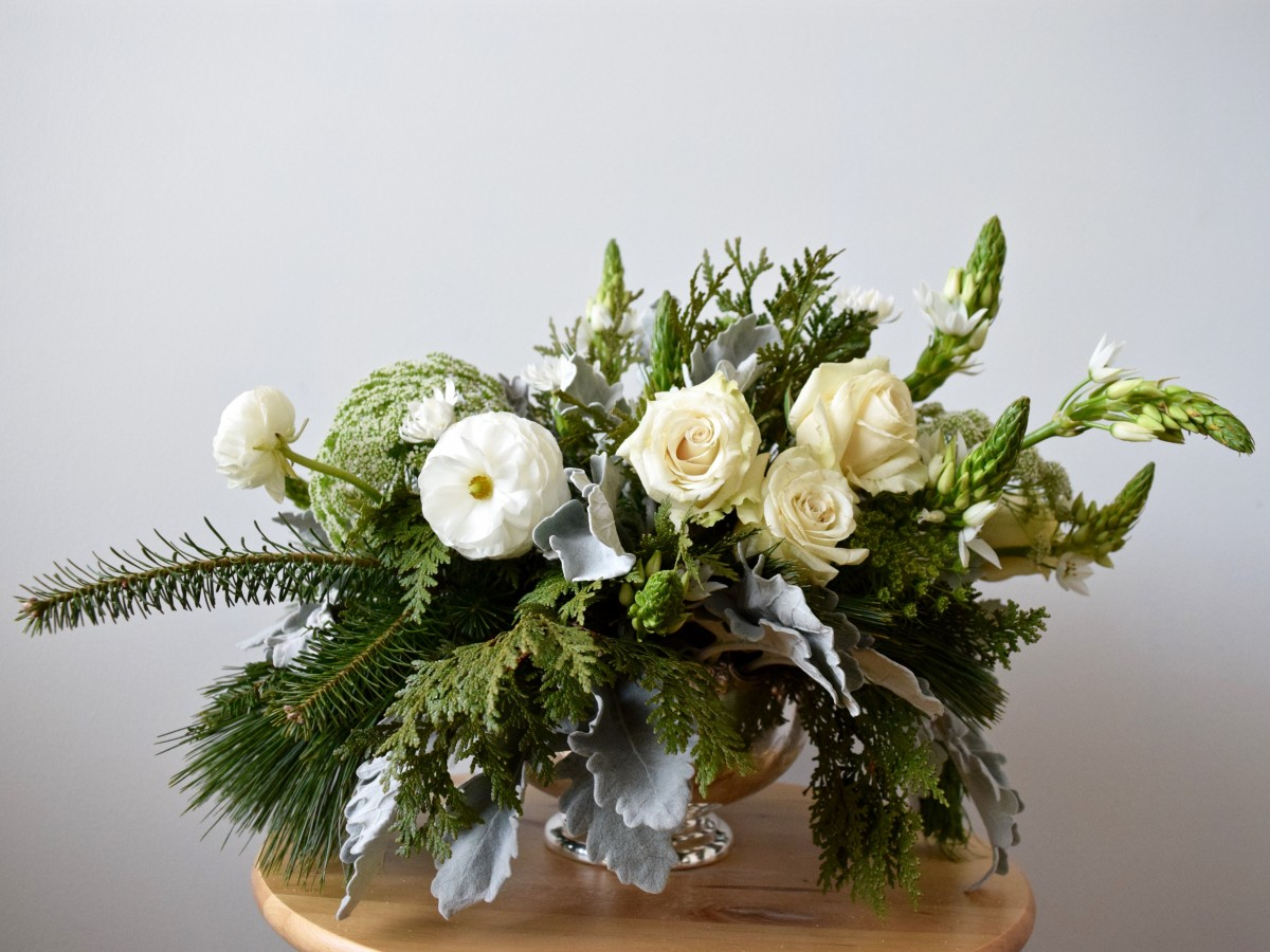 White, Cream, Blush Winter Wedding Centerpiece in Antique Silver Bowl | Dusty Miller, Sahara Roses, White Ranunculus, Ornithogalum | Flourish & Knot | Montreal Wedding Florist