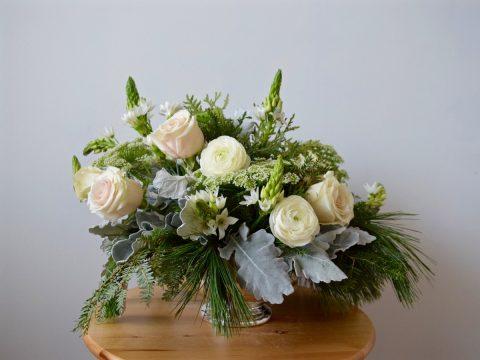White, Cream, Blush Winter Wedding Centerpiece in Antique Silver Bowl   Dusty Miller, Sahara Roses, White Ranunculus, Ornithogalum   Flourish & Knot   Montreal Wedding Florist