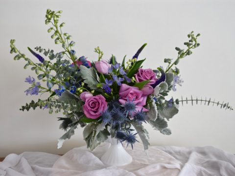 Blue and purple wedding centerpiece | Blue, purple, lavender wedding palette | Flourish & Knot | Montreal wedding florist