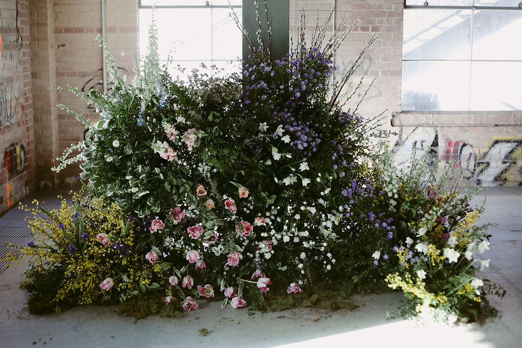 Meadow-Style Foam-Free Floral Installation made in collaboration with Bloom School Toronto | Photo by BKH Photography