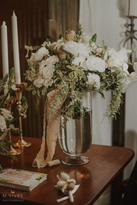 White and green bridal bouquet of roses, garden roses, spray roses, and dried flowers, silk ribbon tail | Photo by M'Vivre | Bouquet by Flourish & Knot