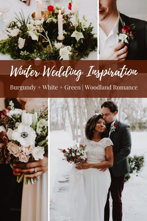 Winter Wedding Inspiration | Burgundy, White, and Green Wedding | Winter Wedding Bouquet | Woodland Wedding | Florals by Flourish & Knot | Maison Trestler | Robelie | Photographie M'Vivre | Chrom Artistry