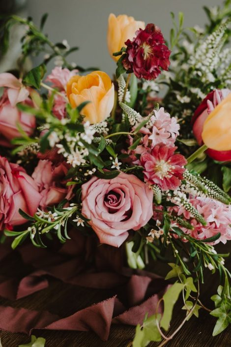 Spring wedding flowers in lavender, plum, and yellow | Florals by Flourish & Knot | Photo by Photographie M'Vivre